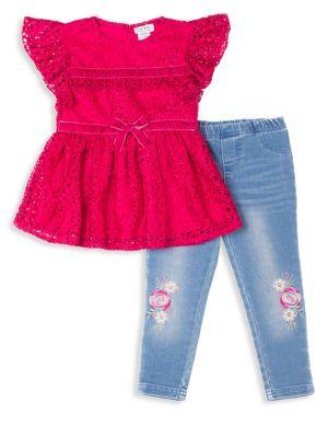 Little Girls TwoPiece FlutterSleeve Top and Denim Leggings Set