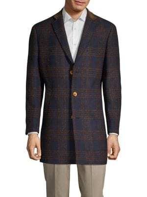 Plaid Notch Lapel Coat...