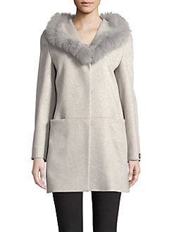 05757635229 Product image. QUICK VIEW. Cinzia Rocca. Fox Fur-Trimmed Wool Walker Coat