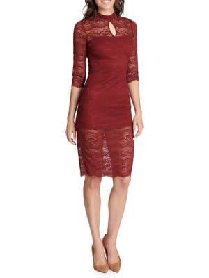 Lace Cutout Sheath Dress...