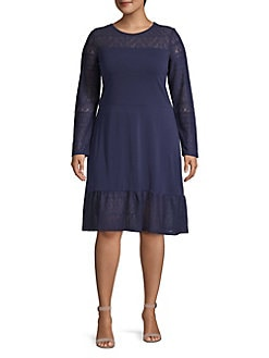 MICHAEL Michael Kors Plus Mix Long-Sleeve Dress