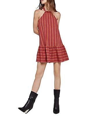 Bcbgeneration Double Striped A Line Halter Mini Dress