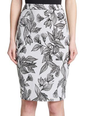 Floral-Print Pencil Skirt...