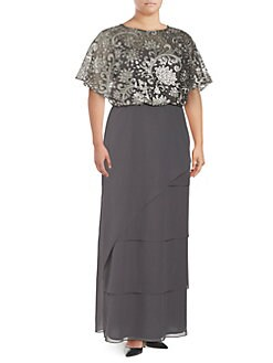 5aa860d8bd16d QUICK VIEW. Brianna. Plus Sequined Combo Blouson Gown