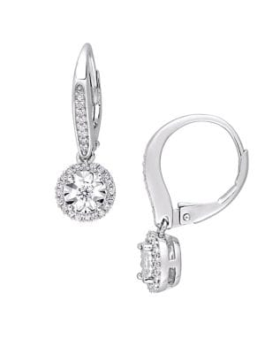 0.33 TCW Diamond and Sterling Silver Halo Circle Drop Earrings