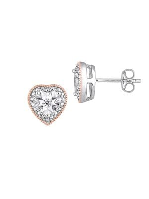 Image of 0.1 TCW Diamond and Sterling Silver Heart Stud Earrings