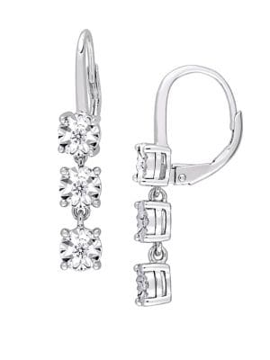 Image of 0.17 TCW Diamond and Sterling Silver Three-Tier Drop Earrings