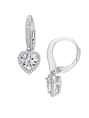 0.33 TCW Diamond and Sterling Silver Halo Heart Drop Earrings