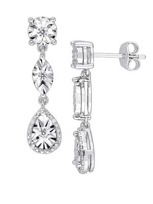 Image of 0.25 TCW Diamond and Sterling Silver Three-Tier Dangle Earrings