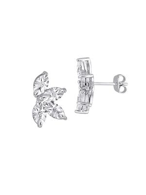 Image of 0.25 TCW Diamond and Sterling Silver Leaf Stud Earrings