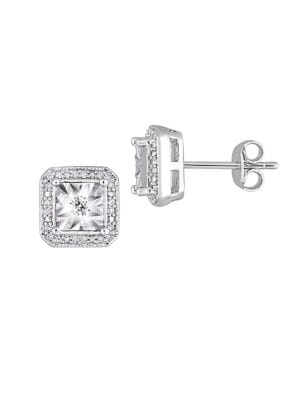 0.2 TCW Diamond and Sterling Silver Halo Square Stud Earrings