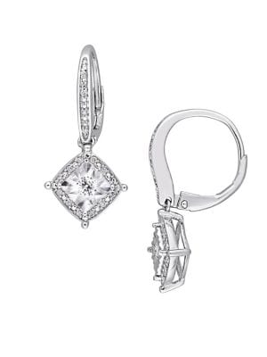0.2 TCW Diamond and Sterling Silver Halo Drop Earrings