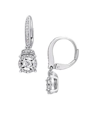 0.33 TCW Diamond and Sterling Silver Halo Earrings