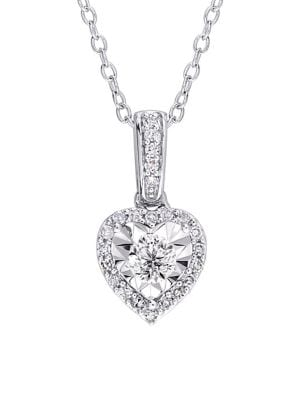 Image of 0.25 TCW Diamond and Sterling Silver Halo Heart Pendant Necklace
