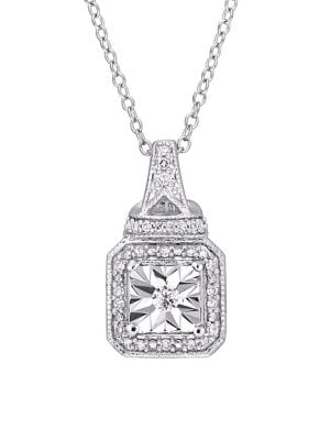 Image of 0.14 TCW Diamond and Sterling Silver Halo Square Vintage Pendant Necklace
