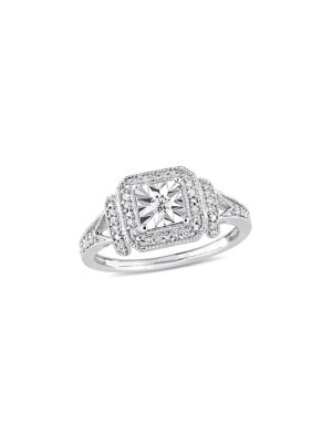 0.2 TCW Diamond and Sterling Silver Halo Square Vintage Promise Ring
