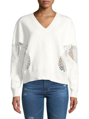 Image of Lace V-Neck Sweater