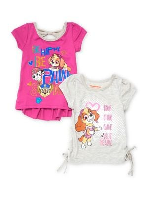 Little Girls Set of Two Paw Patrol Graphic Cotton Tops