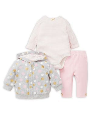Baby Girls ThreePiece Dotted Cotton Jacket Bodysuit  Leggings Set