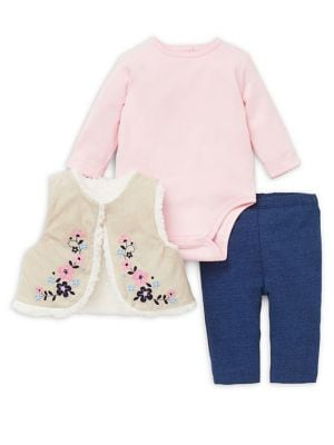 Baby Girls ThreePiece Cotton Bodysuit Floral Vest  Pants Set