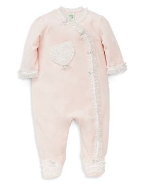 Baby Girls Ribbon Heart Velour Footie
