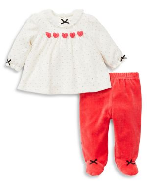 Baby Girls TwoPiece Hearts Velour Tunics  Footed Pants Set