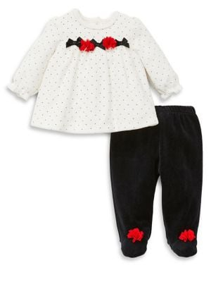Baby Girls TwoPiece Roses  Bows Dotted Tunic  Footed Pants Set