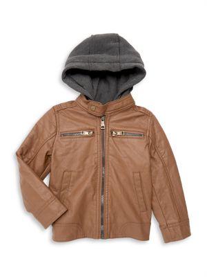 Little Boy's Hooded Faux-Leather...