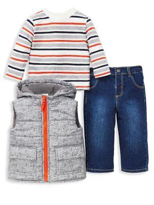 Baby Boys ThreePiece Puffer Vest Set