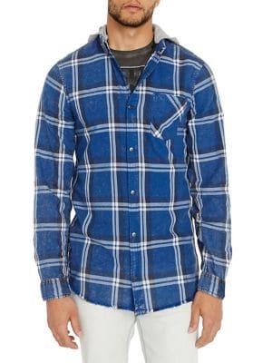 Sak-X Plaid Hooded Shirt...