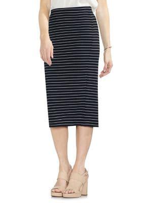 Striped Ribbed Midi Skirt...