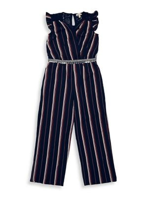 Girl's Striped Jumpsuit...