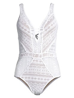 87793a6a73 Color Play Plunging One-Piece Swimsuit WHITE. QUICK VIEW. Product image.  QUICK VIEW. Becca by Rebecca Virtue