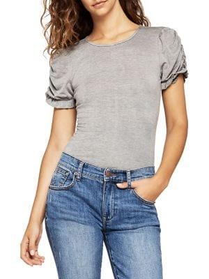 Short Puff-Sleeve Bodysuit...