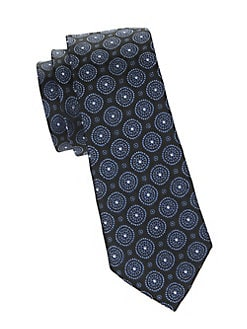 Black Brown 1826 Silk Ornate Medallion Tie