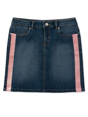 Girls Glitter Stripe Denim Skirt