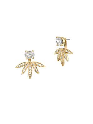 10K Gold & Crystal Front-Back Earrings