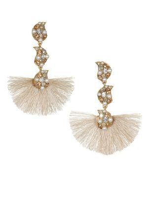 10K Gold, Crystal & Faux Pearl Drop Earrings