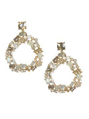 10K Gold, Faux Pearl & Crystal Drop Earrings