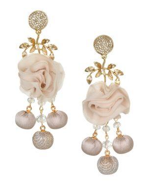 10K Gold & Crystal-Embellished Drop Earrings