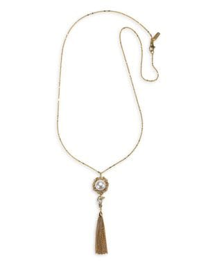 10K Gold, Crystal & Faux Pearl Pendant Necklace