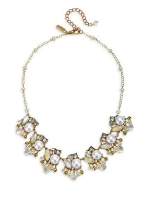 10K Gold, Crystal & Faux Pearl Statement Necklace