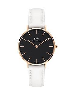 Product image. QUICK VIEW. Daniel Wellington. Classic Petite Bondi Black, Rose Goldtone and Leather Strap Watch, 32mm. $179.00