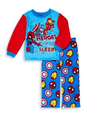 Little Boys TwoPiece Superhero Pajama Set