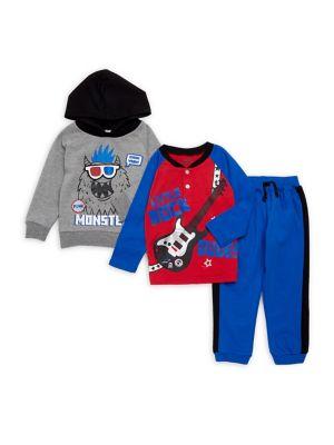 Little Boys ThreePiece Monster Pajamas Set