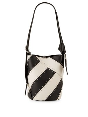 Striped Leather Bucket...
