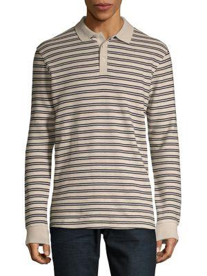 Striped Long Sleeve Polo...