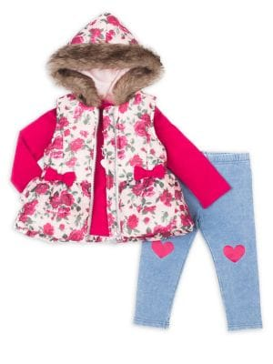 Baby Girls ThreePiece Floral Faux Fur Vest Set