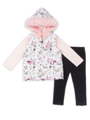 Baby Girls ThreePiece Glam Faux Fur Vest Set
