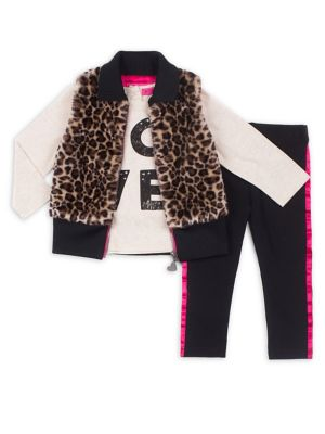 Baby Girls ThreePiece Leopard Faux Fur Vest Set